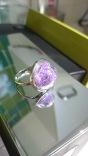 Zilverkleurige ring met glazen bol gevuld met paarse mini bolletjes. €15,00 - In stock R002