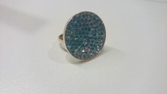 Ring met Swarovski steentjes in ronde 24mm Aanpasbaar €18,00 per ring